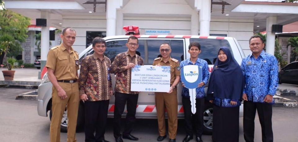Pemkab Gowa Terima Bantuan Ambulans dari PT Taspen dan Wuling Makassar
