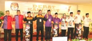 Lima Pasangan Calon Bupati dan Wakil Bupati Gowa mengikuti Debat Kandidat. -foto/humas-