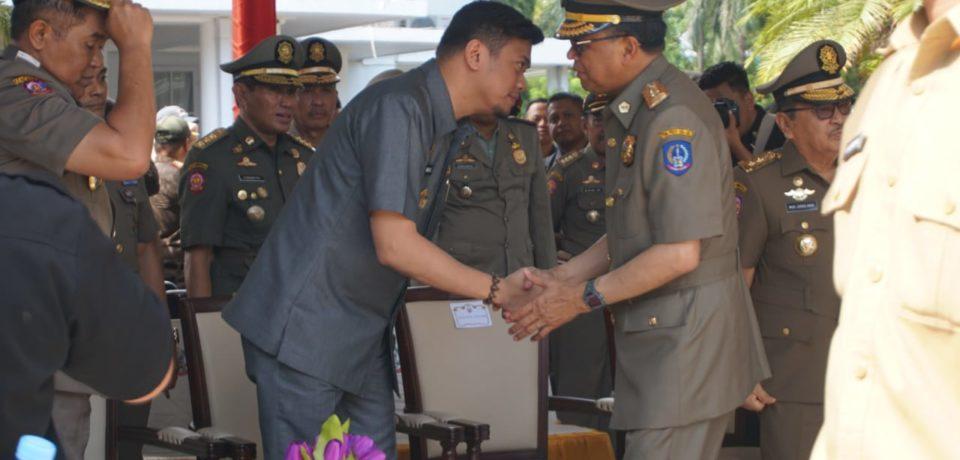 Adnan Hadiri Puncak Peringatan HUT Damkar, Satpol PP dan Sat Linmas di Gubernuran