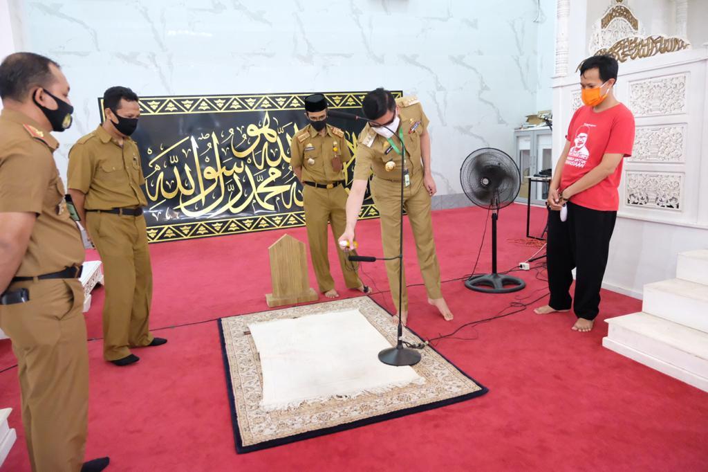 Digunakan Shalat Berjamaah Jumat Mendatang, Bupati Gowa Tinjau Kesiapan Masjid Agung Syekh Yusuf
