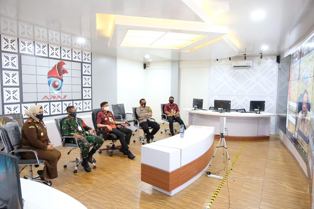 Bersama Jajaran Forkopimda, Bupati Gowa Ikuti Rakorsus Pelaksanaan Inpres No. 6 Tahun 2020