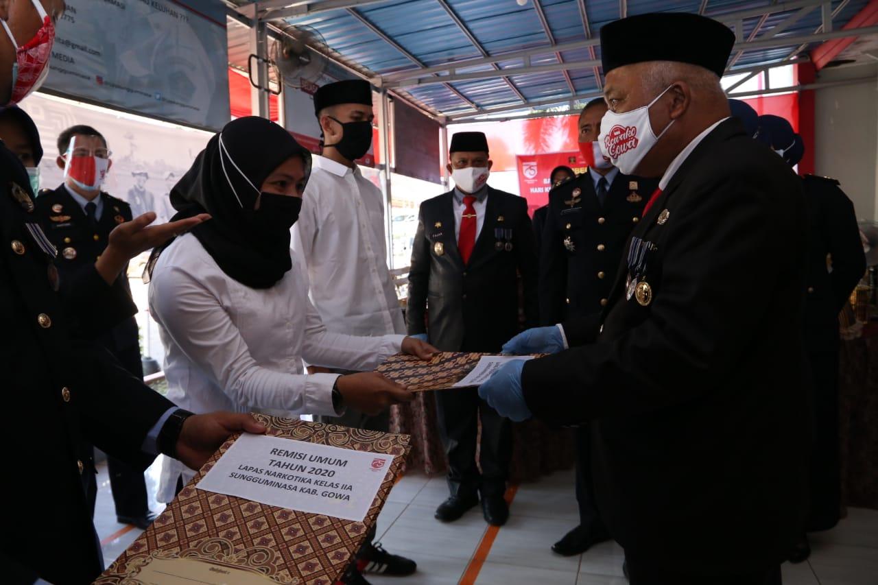 Ratusan Warga Binaan Lapas di Gowa Dapat Remisi HUT RI Ke-75