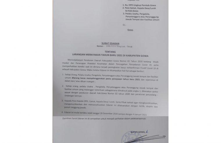 Bupati Gowa Keluarkan Surat Edaran Larangan Perayaan Tahun Baru