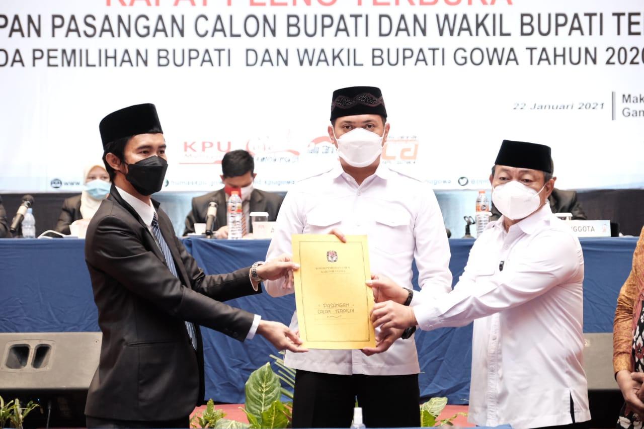 KPU Gowa Tetapkan Adnan-Kio Sebagai Bupati dan Wakil Bupati Terpilih Periode 2021-2026