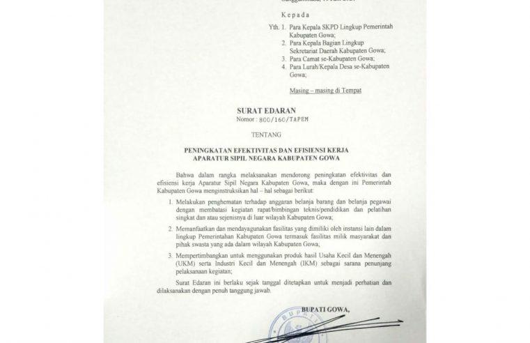 Kegiatan SKPD Dilarang Dilaksanakan di Luar Wilayah Kabupaten Gowa
