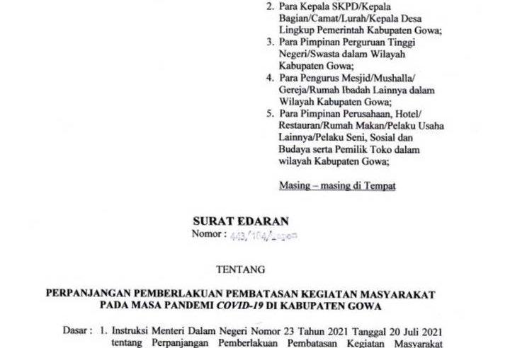 Pemkab Gowa Perpanjang PPKM Mikro Hingga 25 Juli Mendatang